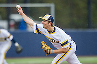 Michigan Wolverines pitcher Ryan Nutof (8) delivers a pitch to the plate against the Bowling Green Falcons on April 6, 2016 at Ray Fisher Stadium in Ann Arbor, Michigan. Michigan defeated Bowling Green 5-0. (Andrew Woolley/Four Seam Images)