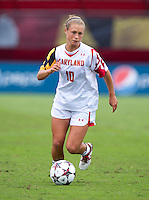 Riley Barger (10) of Maryland carries the ball upfield at Ludwig Field on the campus of the University of Maryland in College Park, MD. DC. Duke defeated Maryland, 2-1.