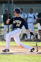 February 28, 2010:  Second Baseman Derek Dennis of the Michigan Wolverines during the Big East/Big 10 Challenge at Raymond Naimoli Complex in St. Petersburg, FL.  Photo By Mike Janes/Four Seam Images