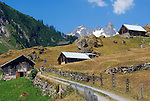 Switzerland, Canton Uri, Fernigen: small village at Sustenpass Road - Fuenffingerstock mountains with peaks Sustenhochspitz, Wendenhorn