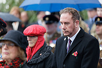 Pictured: Rob Stewart of Swansea Council during the service. Sunday 11 November 2018<br /> Re: Commemoration for the 100 years since the end of the First World War on Remembrance Day at the Swansea Cenotaph in south Wales, UK.