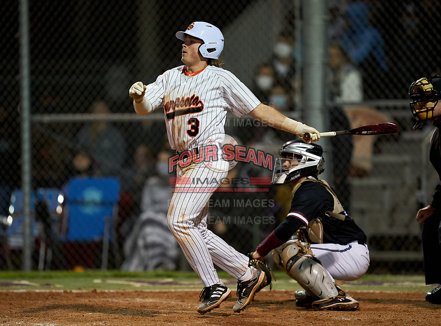 Sarasota Sailors Bradley Ramsden (3) bats during a game against the Riverview Rams on February 19, 2021 at Rams Baseball Complex in Sarasota, Florida. (Mike Janes/Four Seam Images)