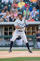 Francisco Lindor (12) of the Columbus Clippers at bat against the Charlotte Knights at BB&T BallPark on May 27, 2015 in Charlotte, North Carolina.  The Clippers defeated the Knights 9-3.  (Brian Westerholt/Four Seam Images)