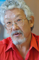 2001 File photo of <br /> <br /> Dr David Suzuki on the launchind day of the Quebec clean air campaign (campagne d'air pur au Quebec).<br /> <br /> David T. Suzuki PhD, the Chair of the David Suzuki Foundation, is an award-winning scientist, environmentalist and broadcaster.<br /> David has received consistently high acclaim for his thirty years of award-winning work in broadcasting, explaining the complexities of science in a compelling, easily understood way. He is well known to millions as the host of the Canadian Broadcasting Corporation's popular science television series, The Nature of Things. <br /> <br /> David has received numerous awards for his work, including a UNESCO prize for science, a United Nations Environment Program medal and the Order of Canada<br /> <br /> Photo by Sevy-IMAGES DISTRIBUTION <br /> <br /> NOTE :  D-1 H original JPEG, saved as Adobe 198 RGB