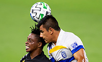 LOS ANGELES, CA - SEPTEMBER 02: Nick Lima #24 of the San Jose Earthquakes and Latif Blessing #7 of LAFC battle for a head ball during a game between San Jose Earthquakes and Los Angeles FC at Banc of California stadium on September 02, 2020 in Los Angeles, California.