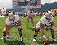 Nick Martin (left) and Mike Golic Junior warm up before the game. The Notre Dame Fighting Irish defeated the Pitt Panthers 15-12 at Heinz field in Pittsburgh, Pennsylvania on September 24, 2011.