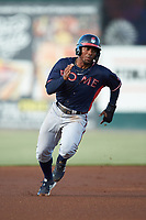 Justin Dean (5) of the Rome Braves hustles towards third base against the Kannapolis Intimidators at Kannapolis Intimidators Stadium on July 3, 2019 in Kannapolis, North Carolina.  The Braves defeated the Intimidators 13-11, (Brian Westerholt/Four Seam Images)