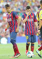 NEYMAR - MESSI ( FC Barcelone )<br /> Football Calcio 2013/2014 <br /> Spagna La Liga<br /> Foto Panoramic / Insidefoto