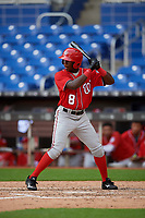 Washington Nationals Jeremy De La Rosa (8) at bat during a Florida Instructional League game against the Miami Marlins on September 26, 2018 at the Marlins Park in Miami, Florida.  (Mike Janes/Four Seam Images)