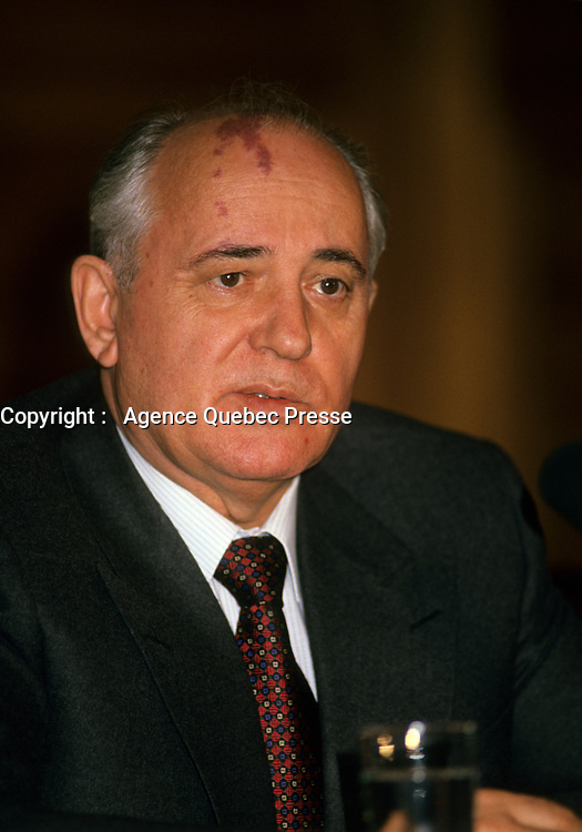 Mikhail Gorbachev, former first president of the Soviet Union, March 17, 1993<br /> <br /> PHOTO : Agence Quebec Presse