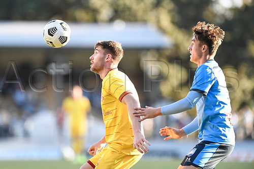 18th April 2021; Leichardt Oval, Sydney, New South Wales, Australia; A League Football, Sydney Football Club versus Adelaide United; Ben Halloran of Adelaide United shields the ball from Joel King of Sydney