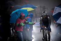 Pieter Serry (BEL/Deceuninck-Quickstep) up the extremely wet, cold & misty Cole di Mortirolo <br /> <br /> Stage 16: Lovere to Ponte di Legno (194km)<br /> 102nd Giro d'Italia 2019<br /> <br /> ©kramon