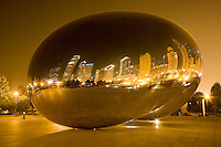 Night reflections in the Cloud Gate (The Bean) in Millennium Park; Chicago, IL