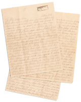 BNPS.co.uk (01202 558833)<br /> Pic: SheldonCarpenter/Witherell'sInc/BNPS<br /> <br /> Pictured: A personal letter to Sonny Capone from Al Capone from Alcatraz, estimated to sell for £35,000, sold for £41,649 ($56,700).<br /> <br /> An incredible treasure trove of Al Capone heirlooms have sold at auction for a whopping £2.3m. ($3.1m)<br /> <br /> The star lot was the notorious American gangster's favourite gun - a 1911 Colt semi-automatic pistol, which was expected to fetch £110,000 but sold for an incredible £764,000. ($1.04m)<br /> <br /> The remarkable collection, sold by his granddaughters, included personalised jewellery, photographs and furniture and a letter written to his only child Sonny from Alcatraz Prison, which showed a tender side to the ruthless crime boss.