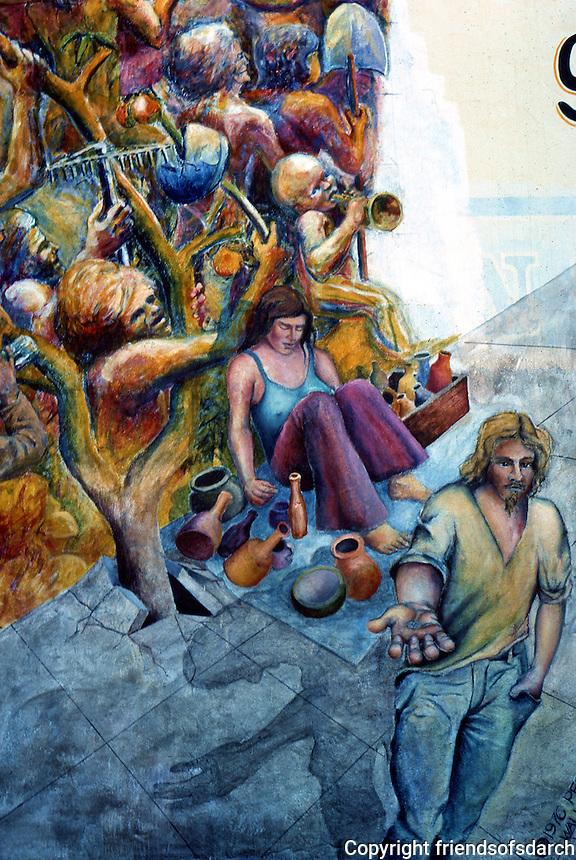 Berkeley CA : Berkeley Mural 5, Telegraph & Haste.  Photo '78.