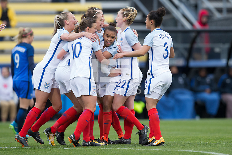 Columbus, Ohio - Thursday March 01, 2018: England celebrates a goal during a 2018 SheBelieves Cup match between the women's national teams of the England (ENG) and France (FRA) at MAPFRE Stadium.