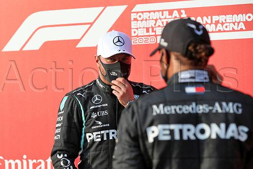 31st October 2020, Imola, Italy; FIA Formula 1 Grand Prix Emilia Romagna, Qualifying;  77 Valtteri Bottas FIN, Mercedes-AMG Petronas Formula One Team is congratulated for pole by 2nd placed 44 Lewis Hamilton GBR, Mercedes-AMG Petronas Formula One Team