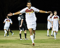 The Winthrop University Eagles beat the UNC Asheville Bulldogs 4-0 to clinch a spot in the Big South Championship tournament.  Achille Obougou (7) celebrates his goal