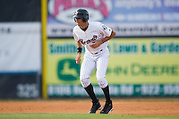 Paulo Orlando (18) of the Winston-Salem Warthogs takes his lead off of second base versus the Frederick Keys at Ernie Shore Field in Winston-Salem, NC, Saturday, June 7, 2008.