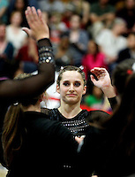 STANFORD, CA--March 1, 2013--Kristina Vaculik with Stanford women's Gymnastics team competes on the beam during the competition against Cal and Oregon State University on the Stanford University Campus. Stanford won the competition .  Kristina Vaculik