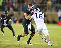 STANFORD, CA - September 8, 2012: Stanford linebacker Shayne Skov (11) during the Stanford Cardinal vs the Duke Blue Devils at Stanford Stadium in Sanford, CA. Final score Stanford 50, Duke 13.