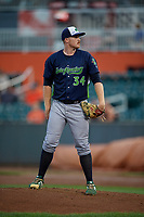 Vermont Lake Monsters pitcher Michael Murray (34) during a NY-Penn League game against the Aberdeen IronBirds on August 19, 2019 at Leidos Field at Ripken Stadium in Aberdeen, Maryland.  Aberdeen defeated Vermont 6-2.  (Mike Janes/Four Seam Images)