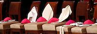 Mitre e papaline degli Arcivescovi Metropoliti durante la Messa per la solennita' dei Santi Pietro e Paolo, nella Basilica di San Pietro, Citta' del Vaticano, 29 giugno 2013.<br /> Archbishops' skullcaps mitres are seen during a Mass for the Saints Peter and Pauls' day in St. Peter's Basilica at the Vatican, 29 June 2013.<br /> UPDATE IMAGES PRESS/Riccardo De Luca<br /> <br /> STRICTLY ONLY FOR EDITORIAL USE