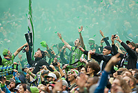SEATTLE, WA - NOVEMBER 10: Sounders fans cheer after forward Raul Ruidiaz #9 scores a goal during a game between Toronto FC and Seattle Sounders FC at CenturyLink Field on November 10, 2019 in Seattle, Washington.