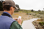 White-crowned Sparrow (Zonotrichia leucophrys) biologist, David Luther, taking notes on territorial responses to certain dialects of calls, Lobos Dunes, Presidio, San Francisco, Bay Area, California