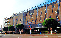 Frank Gehry: Santa Monica Place, 1979-81. The famous chain-link south side of parking garage.  Photo '88.