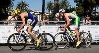 16 SEP 2012 - NICE, FRA - Alistair Brownlee (right) of EC Sartrouville  follows Cyril Moreau of Poissy Triathlon out of a turn during the final stage of the French Grand Prix triathlon series held during the Triathlon de Nice Côte d'Azur (PHOTO (C) 2012 NIGEL FARROW)