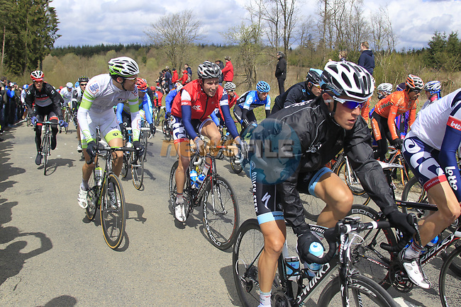 The peloton climb Cote de la Roche-en-Ardenne during the 98th edition of Liege-Bastogne-Liege, running 257.5km from Liege to Ans, Belgium. 22nd April 2012.  <br /> (Photo by Eoin Clarke/NEWSFILE).