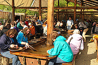 Tourists panning for gold, Fairbanks, Alaska