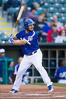 Oklahoma City Dodgers center fielder Chris Heisey (28) at bat against the Nashville Sounds at Chickasaw Bricktown Ballpark on April 15, 2015 in Oklahoma City, Oklahoma. Oklahoma City won 6-5. (William Purnell/Four Seam Images)