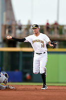 Bradenton Marauders shortstop JaCoby Jones (10) turns a double play during a game against the St. Lucie Mets on April 11, 2015 at McKechnie Field in Bradenton, Florida.  St. Lucie defeated Bradenton 3-2.  (Mike Janes/Four Seam Images)