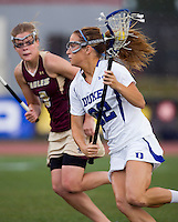 Virginia Crotty (22) of Duke looks for the goal during the first round of the ACC Women's Lacrosse Championship in College Park, MD.  Duke defeated Boston College, 17-6.