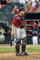 Oklahoma City RedHawks catcher Max Stassi (10) during a game against the Memphis Redbirds on May 23, 2014 at AutoZone Park in Memphis, Tennessee.  Oklahoma City defeated Memphis 12-10.  (Mike Janes/Four Seam Images)