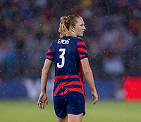 EAST HARTFORD, CT - JULY 1: Samantha Mewis #3 of the USWNT looks to a teammate during a game between Mexico and USWNT at Rentschler Field on July 1, 2021 in East Hartford, Connecticut.