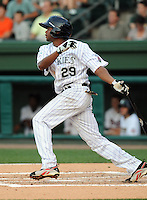 Eliezer Mesa of the Asheville Tourists hits at the 2010 South Atlantic League All-Star Game on Tuesday, June 22, 2010, at Fluor Field at the West End in Greenville, S.C. Mesa received the game's Top Star Award. Photo by: Tom Priddy/Four Seam Images