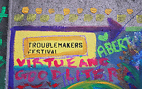 Pictured: Graffitis on the side wall of The Volcano Theatre, High Street, Swansea. Saturday 15 July 2017<br />