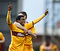 MOTHERWELL'S OMAR DALEY CELEBRATES AFTER HE  SCORES MOTHERWELL'S FIRST GOAL..07/01/2012 sct_jsp005_motherwell_v_queens_park     .Copyright  Pic : James Stewart.James Stewart Photography 19 Carronlea Drive, Falkirk. FK2 8DN      Vat Reg No. 607 6932 25.Telephone      : +44 (0)1324 570291 .Mobile              : +44 (0)7721 416997.E-mail  :  jim@jspa.co.uk.If you require further information then contact Jim Stewart on any of the numbers above.........