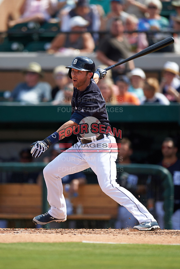Detroit Tigers second baseman Andrew Romine (17) at bat during an exhibition game against the Florida Southern Moccasins on February 29, 2016 at Joker Marchant Stadium in Lakeland, Florida.  Detroit defeated Florida Southern 7-2.  (Mike Janes/Four Seam Images)
