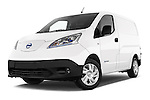 Stock pictures of low aggressive front three quarter view of a 2015 Nissan NV200 Optima 4 Door Cargo Van 2WD Low Aggressive