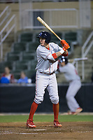 Mickey Moniak (22) of the Lakewood BlueClaws at bat against the Kannapolis Intimidators at Kannapolis Intimidators Stadium on April 8, 2017 in Kannapolis, North Carolina.  The BlueClaws defeated the Intimidators 8-4 in 10 innings.  (Brian Westerholt/Four Seam Images)