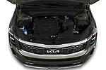 Car Stock 2022 KIA Telluride SX-AWD 5 Door suv Engine  high angle detail view