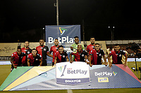 RIONEGRO - COLOMBIA, 06-11-2020: Jugadores del Cúcuta posan para una foto previo al e partido por la fecha 18 entre Rionegro Águilas y Cúcuta Deportivo como parte de la Liga BetPlay DIMAYOR I 2020 jugado en el estadio Alberto Grisales de la ciudad del Rionegro. / Players of Cucuta pose to a photo prior Match for the date 18 between Rionegro Aguilas and Cucuta Deportivo as part BetPlay DIMAYOR League I 2020 played at Alberto Grisales stadium in Rionegro city. Photo: VizzorImage / Juan Augusto Cardona / Cont