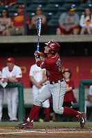 Shane Matheny (28) of the Washington State Cougars bats during a game against the Southern California Trojans at Dedeaux Field on March 13, 2015 in Los Angeles, California. Southern California defeated Washington State, 10-3. (Larry Goren/Four Seam Images)
