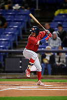 Portland Sea Dogs shortstop Jeremy Rivera (16) at bat during a game against the Binghamton Rumble Ponies on August 31, 2018 at NYSEG Stadium in Binghamton, New York.  Portland defeated Binghamton 4-1.  (Mike Janes/Four Seam Images)