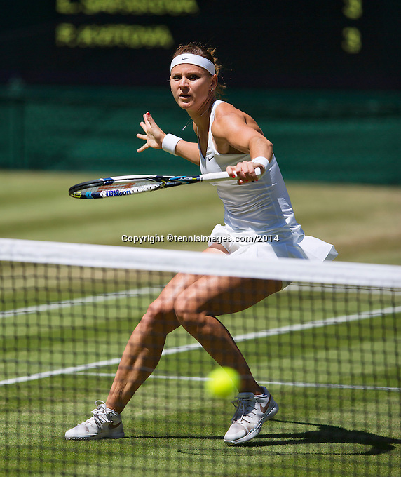 England, London, 28.06.2014. Tennis, Wimbledon, AELTC, Quarterfinal match between Lucie Safarova and Petra Kvitova, Pictured: Lucie Safarova (CZE)<br /> Photo: Tennisimages/Henk Koster