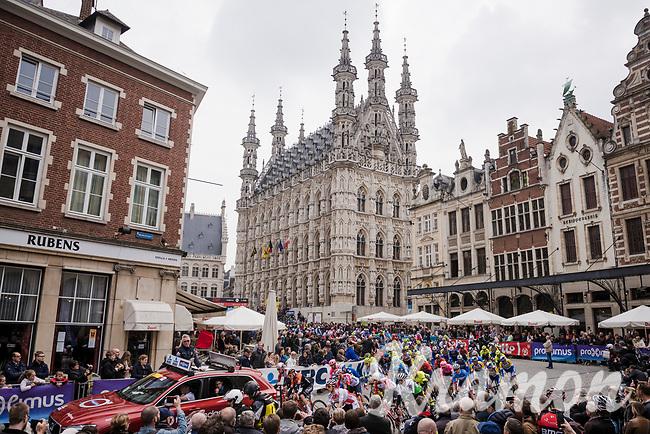 race start in front of the old Town Hall in Leuven<br /> <br /> 59th De Brabantse Pijl - La Flèche Brabançonne 2019 (1.HC)<br /> One day race from Leuven to Overijse (BEL/196km)<br /> <br /> ©kramon